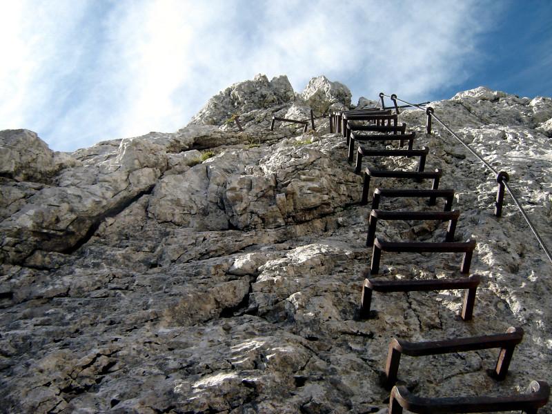 Klettersteig Leiter : Foto: erste leiter der alpspitz ferrata