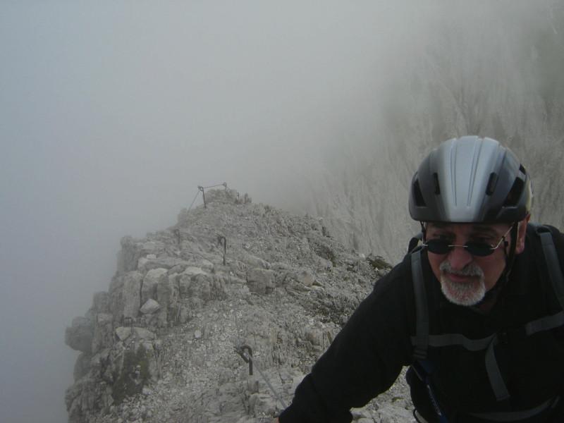 Klettersteig Rosengarten : Nebel im rotwand klettersteig rosengarten