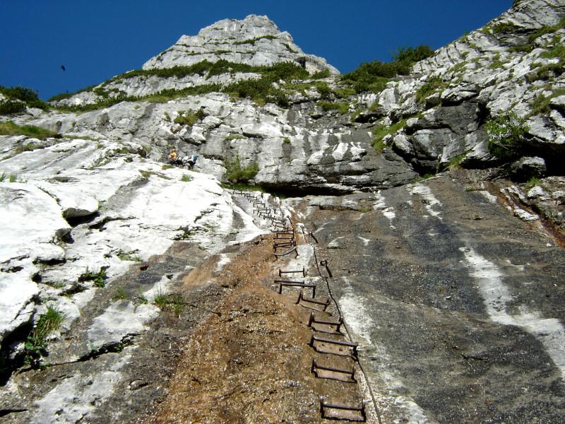 Klettersteig Höllental : Die berühmte leiter des höllental klettersteigs