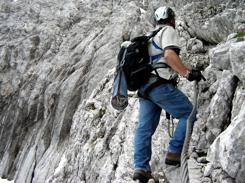 Klettersteig Höllental : Ausgesetzte passage im höllental klettersteig